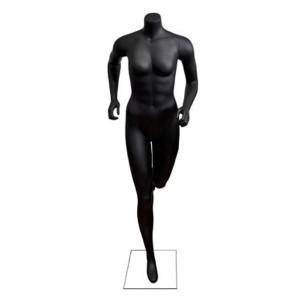 Mannequin headless runner woman in black matte