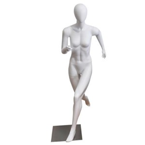 Manichino donna senza caratteristiche facciali runner bianco opaco