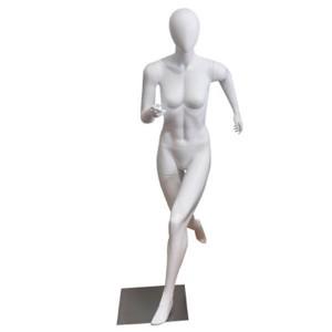 Mannequin femme sans traits coureur blanc mat