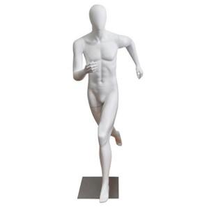 Manichino uomo senza caratteristiche facciali runner bianco opaco