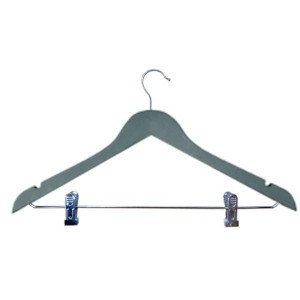 Rubber covered wooden hanger with clip 44 cm.