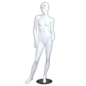 White lacquered lady mannequin with yellow lashes and bangs
