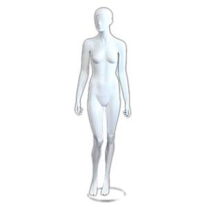 Manichino donna laccato bianco con capelli profilati e posa naturale