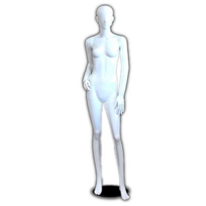 Lady mannequin white lacquered with hair profiled hand on hip and foot forward