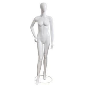 Manichino donna laccato bianco con la mano sull'anca e il piede in avanti