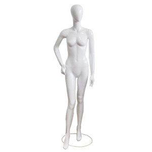 White lacquered lady mannequin with hand on hip and foot forward