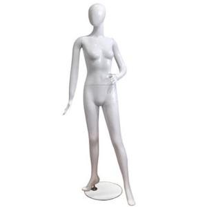 Manichino donna laccata bianca con gamba davanti e mano sul fianco
