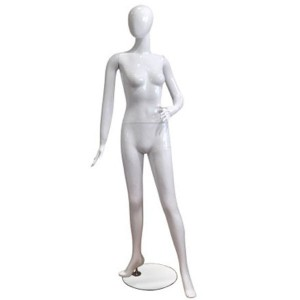 Mannequin white lacquered lady with forward leg and hand on hip