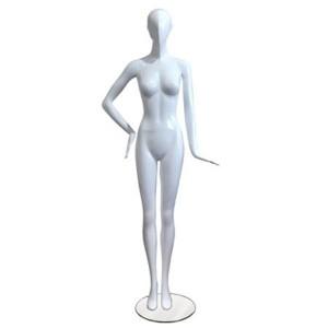 Maniquí señora sin rasgos blanco lacado con pose recta y mano en la cadera