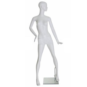 Mannequin white matt lady hand on the hip and foot forward