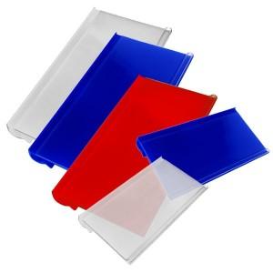 Cartellini dei prezzi per ganci di varie dimensioni e colori