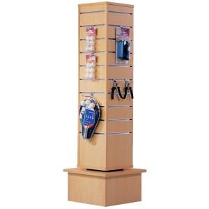 Torre giratòria de lames per a exposició de productes color auró natural