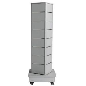 Drehender Turm von Latten mit Rädern für Ausstellung der Produkte grauen Farbe