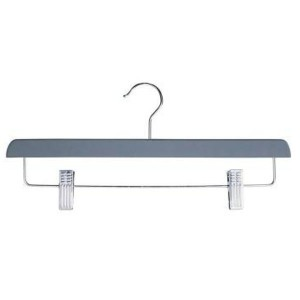 Wooden hanger lined with rubber and clamps, 35 cm.