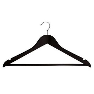 Wooden hanger lined in rubber with bar and notches of 44 cms.