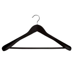 Wooden hanger lined in rubber with bar and shoulders of 44 cm