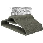 Percha terciopelo antideslizante con doble barra y doble muesca, 45 cm. Color gris.