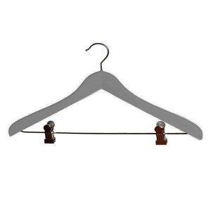Hanger made of lacquered beech wood with clips 40 cm. Gray.