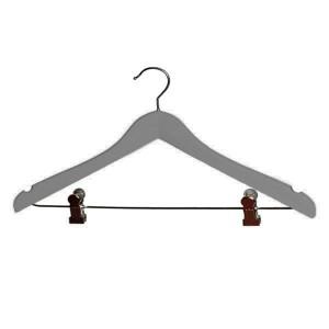 Cintre en bois de hêtre laqué avec encoches et clips 40 cm. Gris.