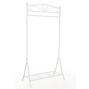 Metal coat rack with classic style shoe rack in white