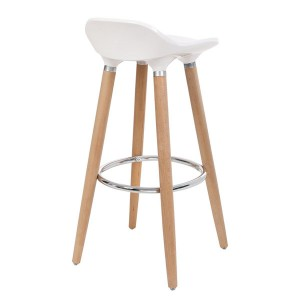 ABS plastic stool and beech wood with footrest