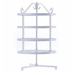 Rotating display rack with four heights for earrings