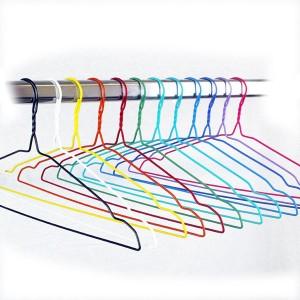 Percha para tintorería y lavandería de alambre forrada en PVC 42 cm.