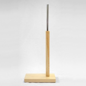 Rectangular wooden base 60cm. wooden mast 35cm. metal tube