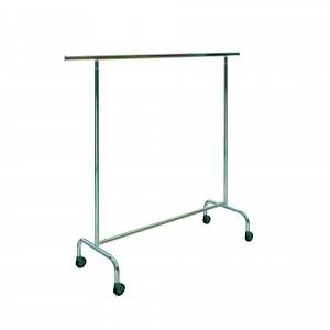 Stackable metal coat rack with 150cm wide wheels.