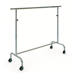 Stapelbarer Kleiderständer aus Metall mit Rädern von 150 cm Breite. und einstellbare Höhe.