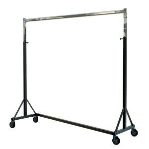 Portemanteau empilable en métal pour charges lourdes avec roues de 150 cm de large et hauteur réglable.