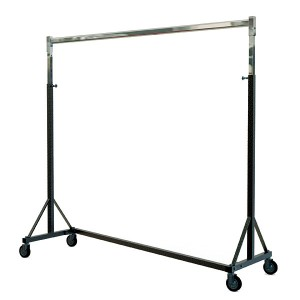 Stackable metal coat rack for heavy loads with wheels 150 cm wide and adjustable height.