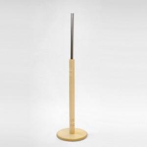 Base di legno tornito diametro 24,5cm. albero in legno 60cm. tubo metallo 35cm.