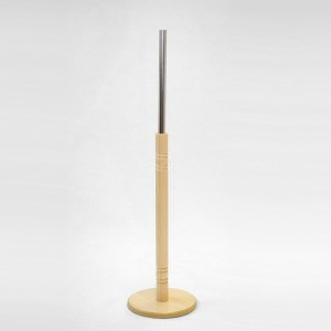 Base madera redonda diámetro 24,5cm. mástil madera torneado 60cm. tubo metálico 35cm.