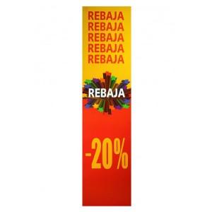 Cartell vertical REBAIXA 20% groc i vermell per aparador