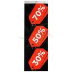 Cartel vertical REBAJA 30/50/70% rojo y negro para escaparate