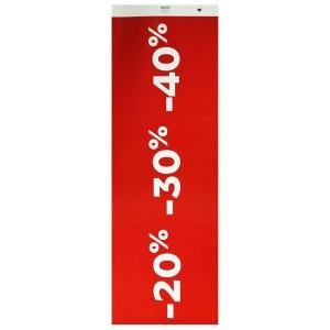 Cartel troquelado REBAJAS 20/30/40 rojo para escaparate o interior