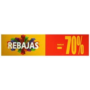 Cartell horizontal REBAIXA 70% groc i vermell per aparador