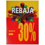 Cartel vertical REBAJA 30% amarillo y rojo para escaparate o interior