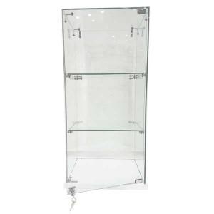 Vetrina espositore in vetro con due ripiani e base in legno con serratura