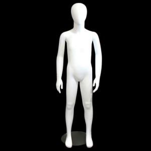 Maniquí sense rostre de nen 7/8 anys en blanc mat