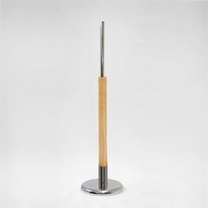 Base in metallo rotonda diametro 27cm. albero in legno 60cm. tubo metallo 35cm.