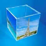 Expositor caja para fotografías con tapa superior