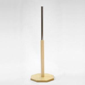 Base madera octogonal diámetro 25cm. mástil madera 40cm. tubo metálico 35cm.