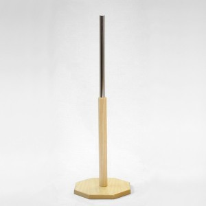 Octagonal wooden base 25cm. diameter 40cm. wooden mast 35cm. metal tube