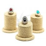 Présentoir à anneaux en lin à trois étages