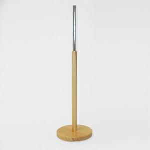 Runder Holzbase Durchmesser 29cm. Holzmast 60cm. Metallrohr 35cm.