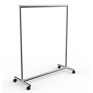 Metallic tube coat rack with fixed height wheels and several available widths