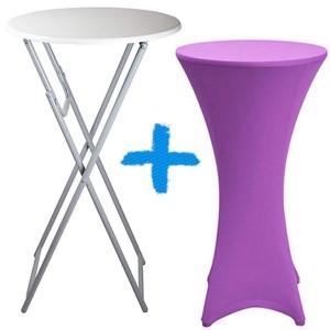 Confezione Tavolo rotondo tondo pieghevole + coperchio elastico