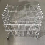 Folding basket with wheels for product display